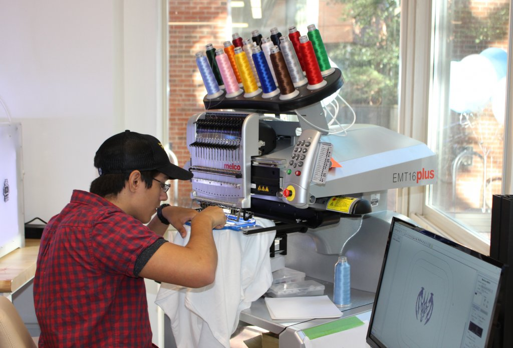 Not just 3-D printers: Some makerspaces have textile equipment such as embroidery machines.